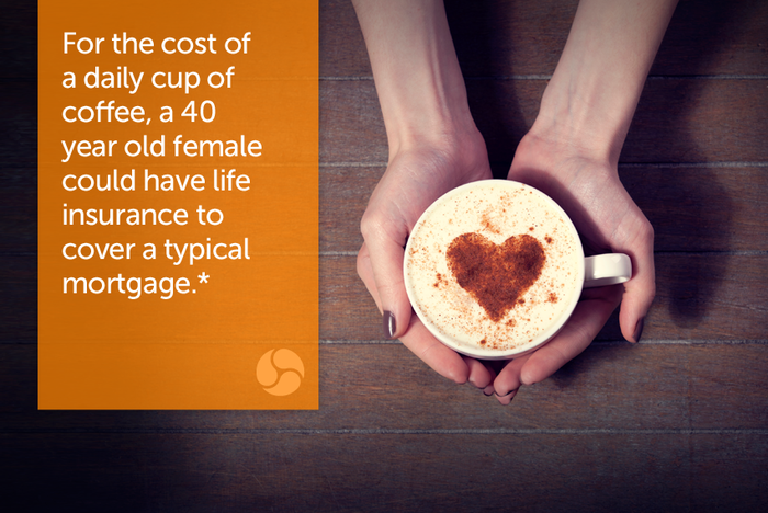 For the cost of a daily cup of coffee, a 40 year old female could have life insurance to cover a typical mortgage.