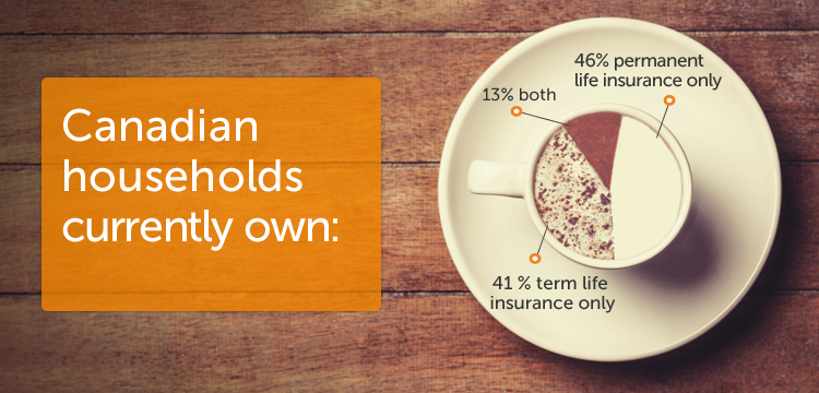 Canadian households currently own: 46% permanent life insurance only, 41% term life insurance only, 13% both