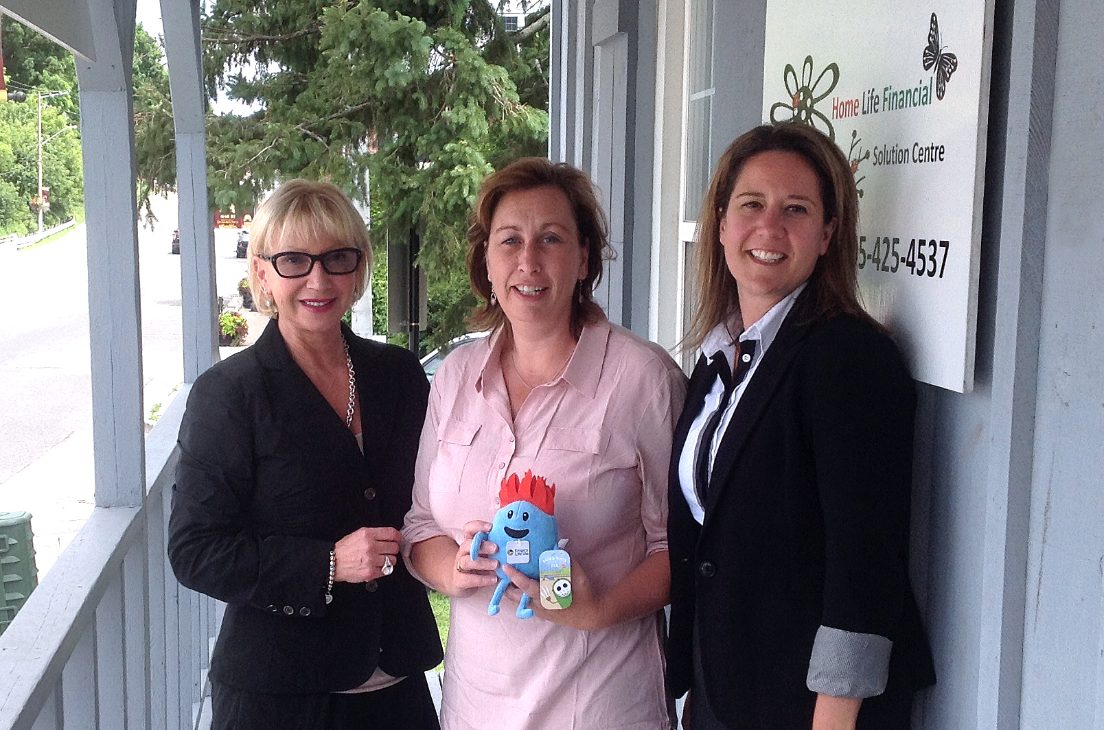 Pictured: Ilana Garber – Empire Life, Lori Murphy (centre) holding Dumb Ways to Die Numpty toy, and Laura Madsen - Empire Life