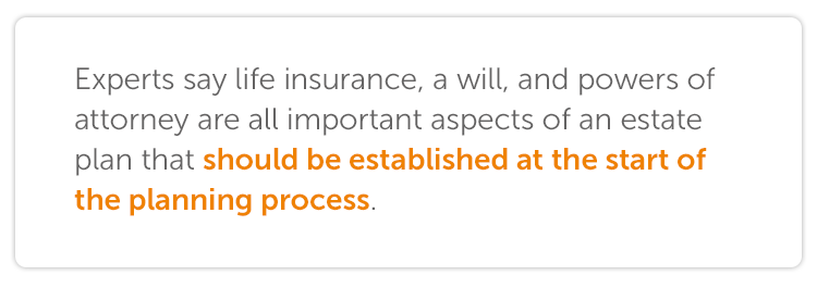 Experts say life insurance, a will, and  powers of attorney are all important aspects of an estate plan that should be established at the start of the planning process.