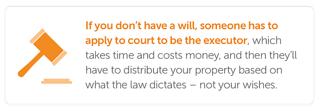 If you don't have a will, someone has to apply to court to be the executor, which takes time and costs money, and then they'll have to distribute your property based on what the law dictates – not your wishes.
