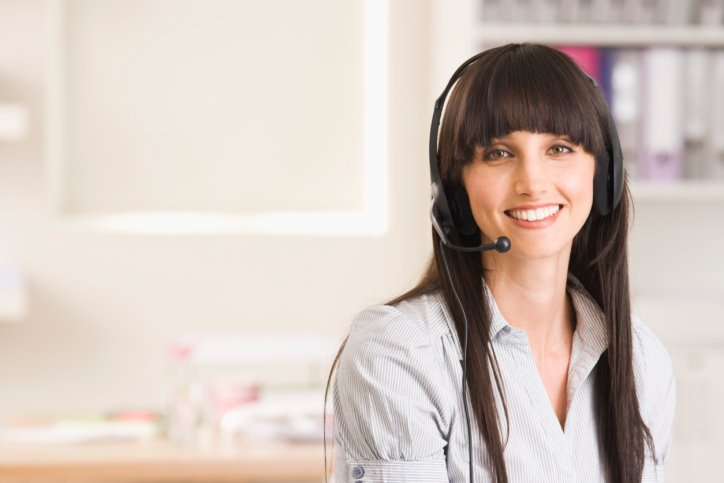 Woman with phone headset