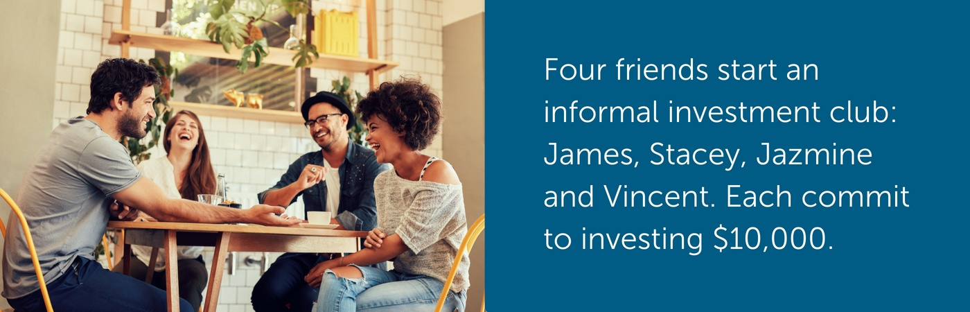 Four friends start an informal investment club: James, Stacey, Jazmine and Vincent. Each commit to investing $10,000.